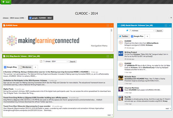 Screenshot: CLMOOC - Dashboard