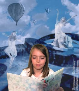 Image: Digital collage of the mind of a little girl reading